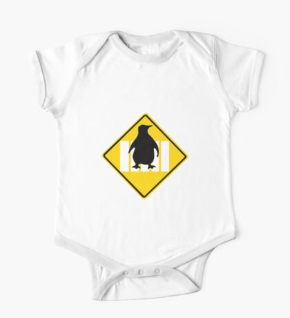 LINUX TUX PENGUIN CROSSING ROAD SIGN One Piece - Short Sleeve