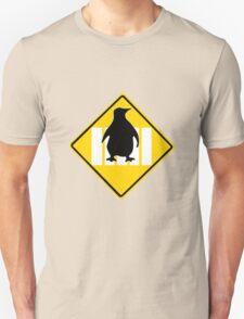 LINUX TUX PENGUIN CROSSING ROAD SIGN Unisex T-Shirt
