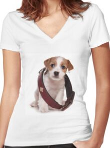 Jack Russell Terrier puppy and a large collar Women's Fitted V-Neck T-Shirt
