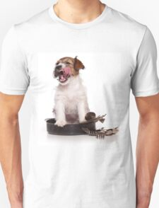 Jack Russell Terrier puppy licked T-Shirt