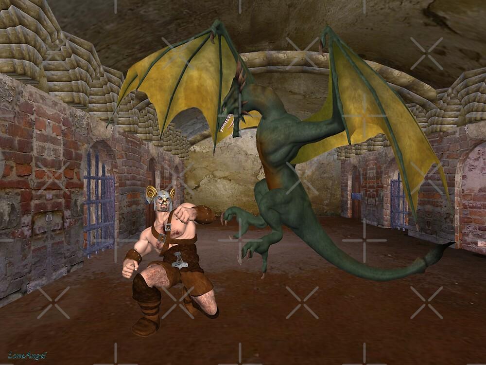 Enemies .. Dragon vs Warrior by LoneAngel
