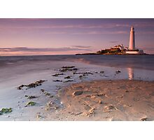 St Marys Lighthouse at sunset Photographic Print