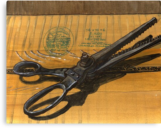 vintage pinking shears sitting on a taped box by bernzweig