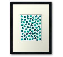 Esme - painted brushstroke emerald jade mint dots polka dots pattern design  Framed Print