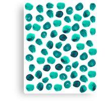 Esme - painted brushstroke emerald jade mint dots polka dots pattern design  Canvas Print