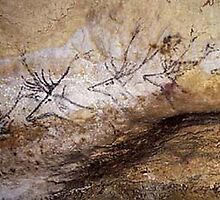 Swimming Stags - Lascaux (Compare to Pronghorns Bedded Down) by A.M. Ruttle