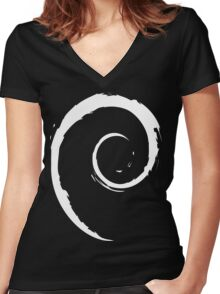 Debian White Women's Fitted V-Neck T-Shirt