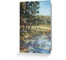 Lilies on the dam after rain Greeting Card