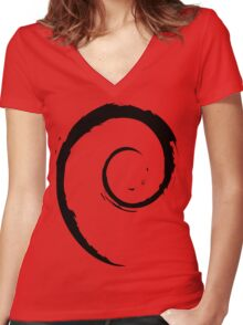 Debian Black Women's Fitted V-Neck T-Shirt