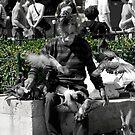 Pigeon Man in Paris by lukefarrugia