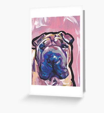 Chinese Shar Pei Dog Bright colorful pop dog art Greeting Card