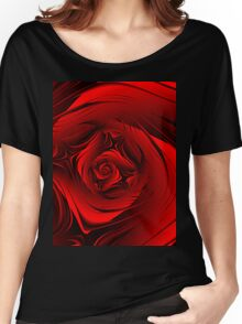 Red Fractal Rose T Women's Relaxed Fit T-Shirt