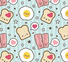 Kawaii Bacon & Egg Sandwich - Card Version by Lisa Marie Robinson