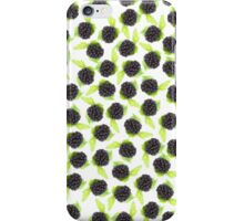 Black and green cute raspberries pattern iPhone Case/Skin