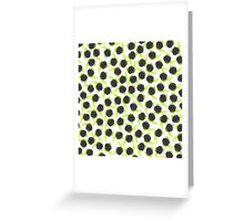 Black and green cute raspberries pattern Greeting Card