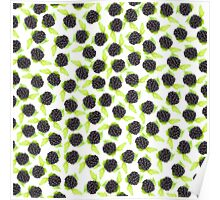 Black and green cute raspberries pattern Poster