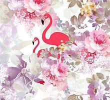 Girly cute pink flamingo vintage pastel flowers by Maria Fernandes