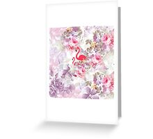 Girly cute pink flamingo vintage pastel flowers Greeting Card
