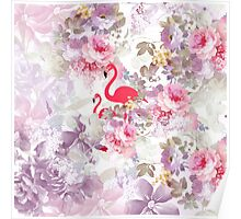 Girly cute pink flamingo vintage pastel flowers Poster