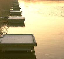 Fisher platforms in winter evening light by steppeland