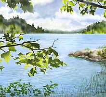 Charlton Lake Picnic Island by Joan A Hamilton