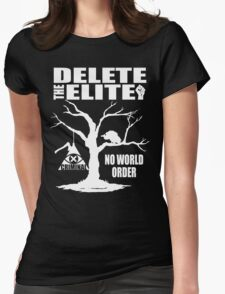 Delete The Elite - Anti New World Order Womens Fitted T-Shirt