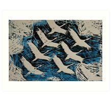 The migration of cranes Art Print