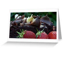 Chocolate Cake and Strawberries Greeting Card
