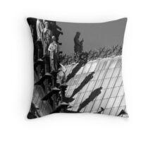 Shadow of the giants - b&w Throw Pillow