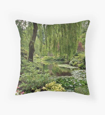 The Sunken Garden Lake Throw Pillow