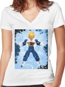 VEGETA- SUPER SAIYAN PRINCE Women's Fitted V-Neck T-Shirt