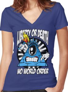 Liberty Or Death - No World Order Women's Fitted V-Neck T-Shirt
