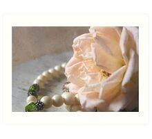 Rose and Pearls Highkey Art Print