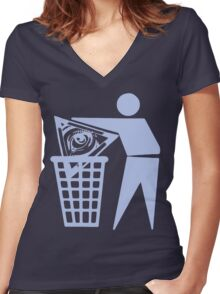 Delete The Elite - No World Order Women's Fitted V-Neck T-Shirt