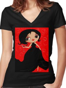 Black Dress in a Red Room Women's Fitted V-Neck T-Shirt
