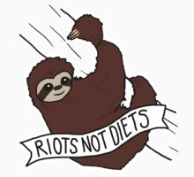 """Feminist Sloth """"Riots Not Diets"""" Anti-Diet Sloth Kids Clothes"""