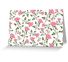 Elegant Pink Roses Pattern Illustration Greeting Card
