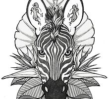 Zebra & Jungle Leaves by Britt Sorensen