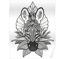 Zebra & Jungle Leaves Poster