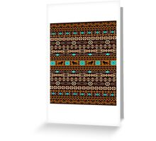 Brown And Beige Tribal Pattern With Loons Greeting Card