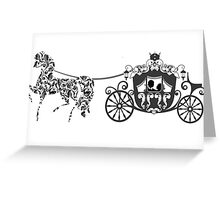 Black And White Wedding Horses And Carriage  Greeting Card