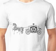 Black And White Wedding Horses And Carriage  Unisex T-Shirt