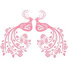Pink Stylized Pair of Peacocks Love Birds  by artonwear
