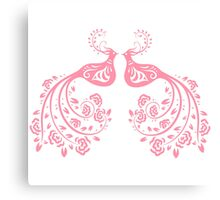 Pink Stylized Pair of Peacocks Love Birds  Canvas Print