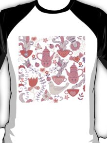 Pink And White Tea Party With Flowers And Birds T-Shirt