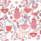 Pink And White Tea Party With Flowers And Birds by artonwear