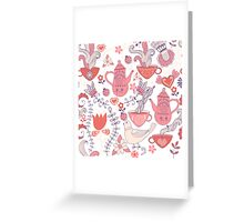 Pink And White Tea Party With Flowers And Birds Greeting Card