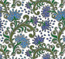 Fancy Flowers (White) by Katrina Jackson