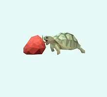 low poly turtle eating strawberry by maismu