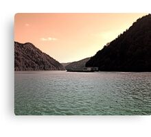 Danube river ship at evening | waterscape photography Canvas Print